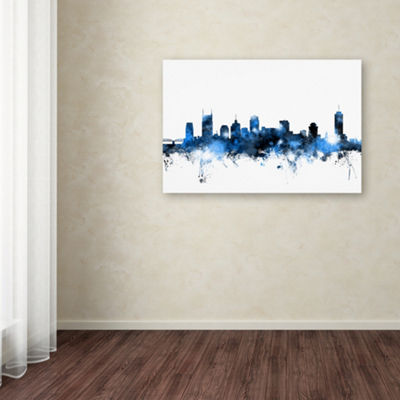 Trademark Fine Art Michael Tompsett Nashville Tennessee Skyline White Giclee Canvas Art