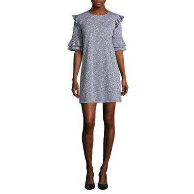 City Triangle Casual Elbow Sleeve A-Line Dress-Juniors