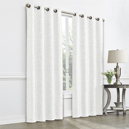 JCPenney Home Plaza Tapestry Blackout Grommet-Top Single Curtain Panel, One Size , White