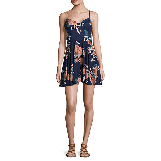 by&by-Juniors Sleeveless Floral Fit & Flare Dress