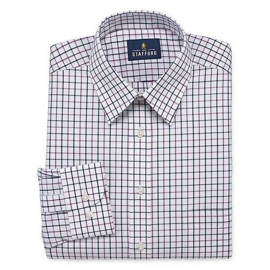 Stafford Travel Stretch Performance Super Shirt Long Sleeve Broadcloth Grid Dress Shirt-Big and Tall