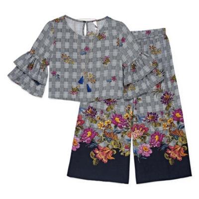 Knit Works Houndstooth Floral Pant set - Big Kid Girls