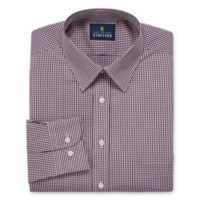 Stafford Comfort Stretch Long Sleeve Woven Checked Dress Shirt