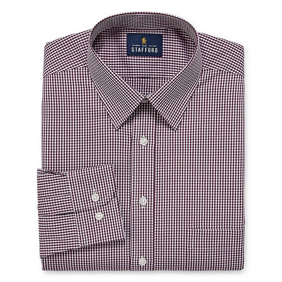 Stafford Comfort Stretch Mens Point Collar Long Sleeve Stretch Dress Shirt
