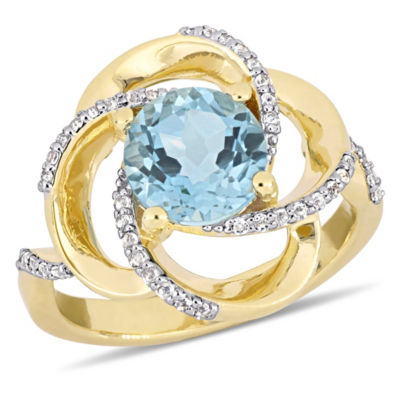 Womens Genuine Blue Topaz 18K Gold Over Silver Cocktail Ring