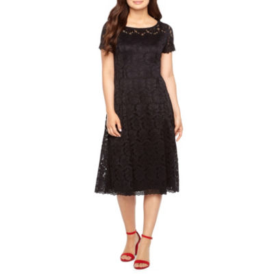 Ronni Nicole Short Sleeve Lace Floral Fit & Flare Dress