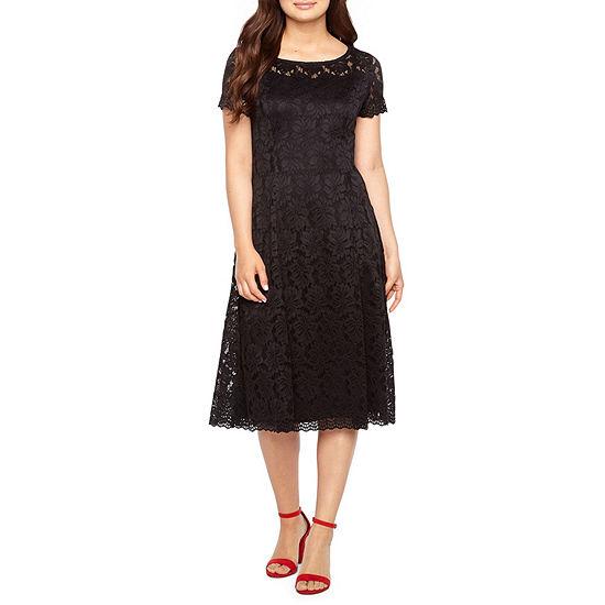 Ronni Nicole Short Sleeve Floral Midi Fit & Flare Dress