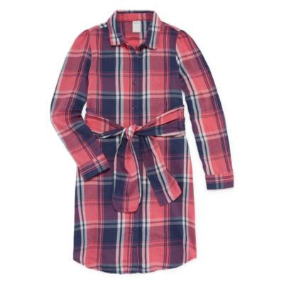 Arizona Long Sleeve Cuffed Sleeve Shirt Dress Girls