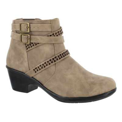 Easy Street Womens Denise Block Heel Zip Bootie