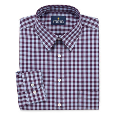 Stafford Travel Stretch Performance Super Shirt Big And Tall Long Sleeve Broadcloth Checked Dress Shirt