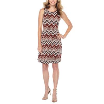 Ronni Nicole Sleeveless Chevron Puff Print Shift Dress