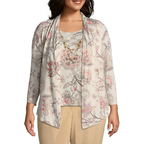 Alfred Dunner Sunset Canyon Scroll Floral Layered Blouse - Plus