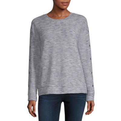 Liz Claiborne Long Sleeve Round Neck Pattern T-Shirt-Womens