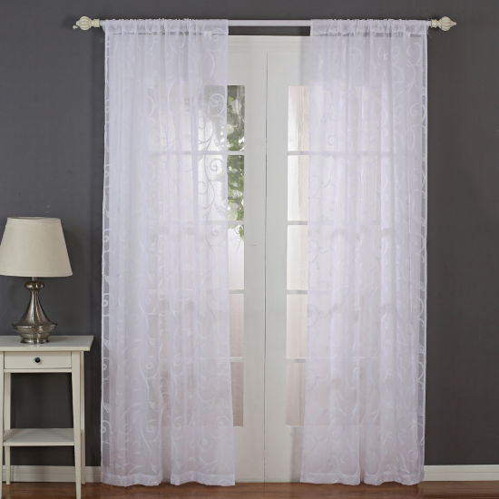 Pacific Coast Textile 2 Panel Sheer Leaf Curtain