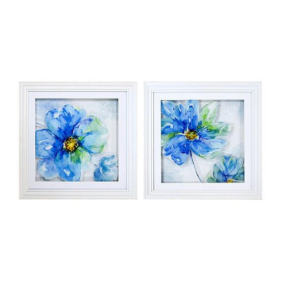 New View Blue Floral Multi Layer Glass - Set 2-pc. Canvas Art
