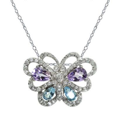 Womens Purple Amethyst Sterling Silver Butterfly Pendant Necklace