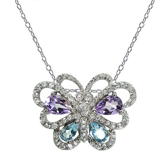 Womens Genuine Purple Amethyst Sterling Silver Butterfly Pendant Necklace