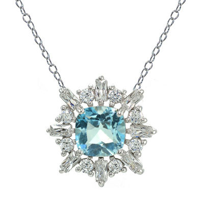 Womens Blue Topaz Sterling Silver Square Pendant Necklace