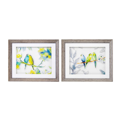 New View Love Birds Multi Layer Glass - Set 2-pack Canvas Art