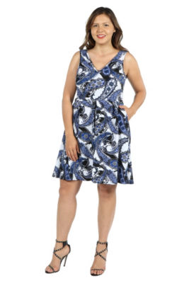 24Seven Comfort Apparel Emi Blue and White Dress - Plus