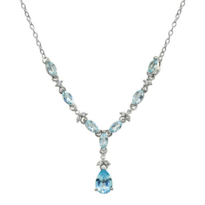 Womens Blue Topaz Sterling Silver Pear Y Necklace