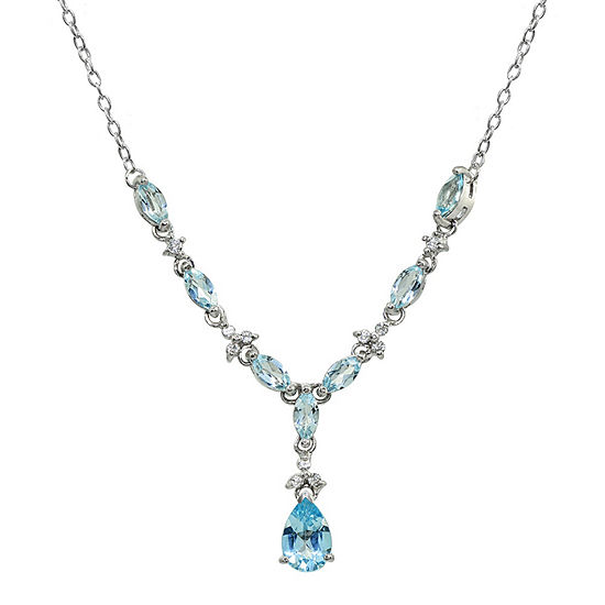 Womens Genuine Blue Topaz Sterling Silver Pear Y Necklace