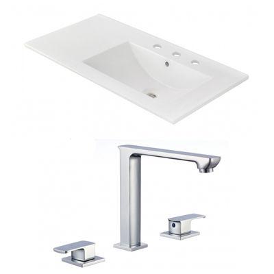 35.5-in. W 3H8-in. Ceramic Top Set In White Color- CUPC Faucet Incl.