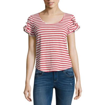 Derek Heart Short Sleeve Round Neck Stripe T-Shirt-Womens Juniors