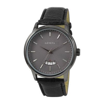 Geneva Mens Black Strap Watch-Jry8143gu