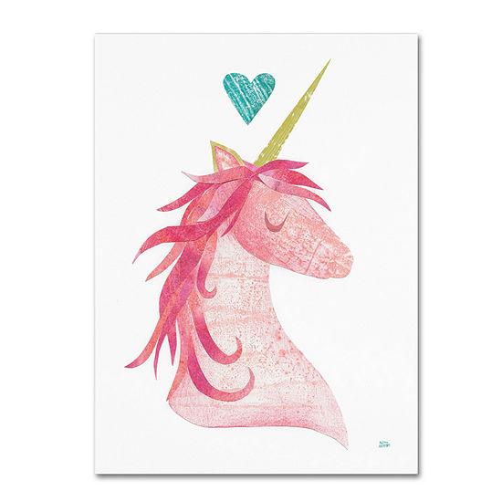 Trademark Fine Art Melissa Averinos Unicorn MagicI Heart Giclee Canvas Art