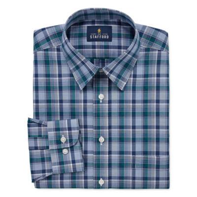 Stafford Travel Stretch Performance Super Shirt Big And Tall Long Sleeve Broadcloth Plaid Dress Shirt