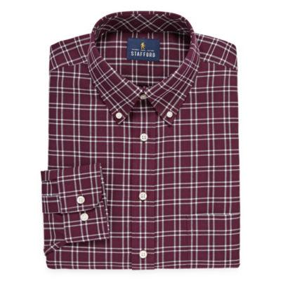 Stafford Travel Stretch Oxford Big And Tall Long Sleeve Oxford Grid Dress Shirt