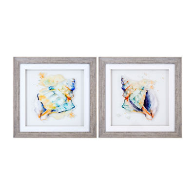 New View Watercolor Conches Layer Glass - 2p Set 2-pc. Canvas Art