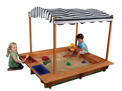 KidKraft Outdoor Sandbox with Canopy - Navy & White