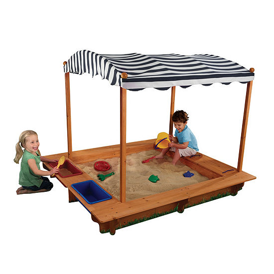 Kidkraft Outdoor Sandbox With Canopy Navy White