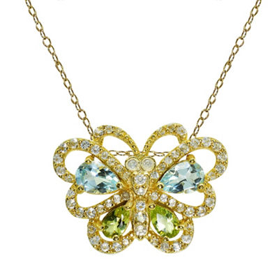 Womens Blue Topaz 14K Gold Over Silver Butterfly Pendant Necklace