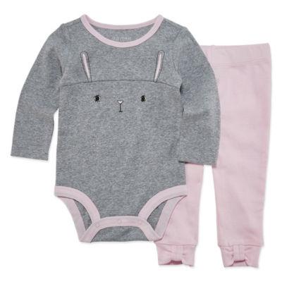 Okie Dokie Bunny 2 Long Sleeve Bodysuit and Pant Set - Baby Girl NB-24M