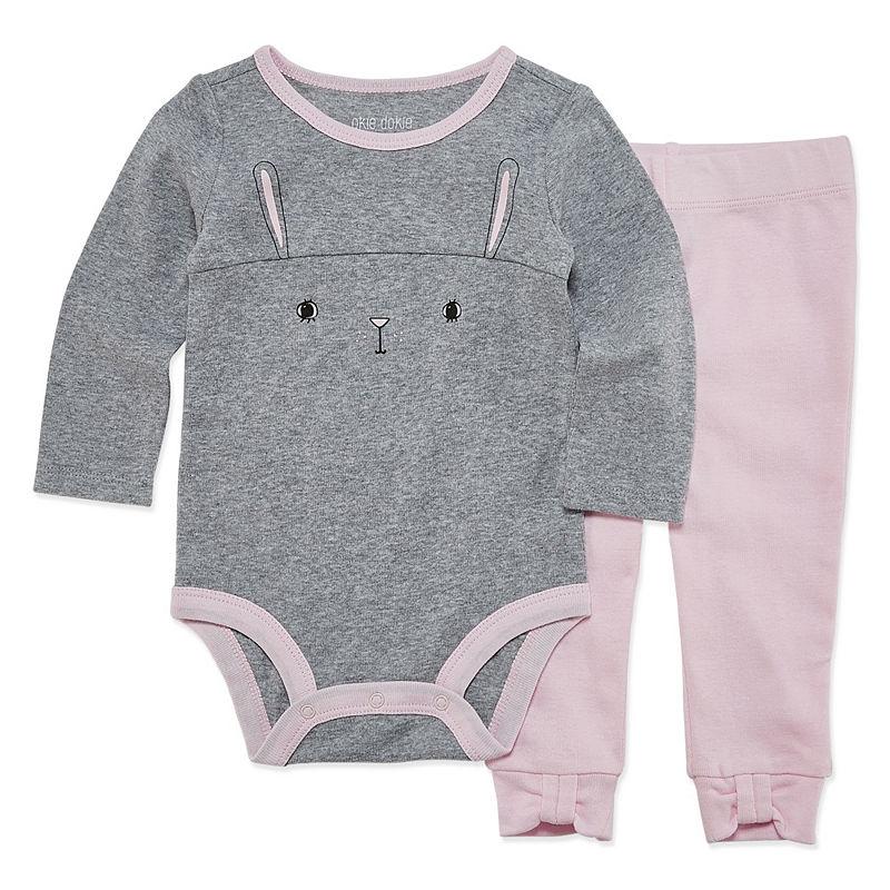 Okie Dokie Bunny 2 Long Sleeve Bodysuit and Pant Set, Girls, Heather Gray B11, Size 6 Months