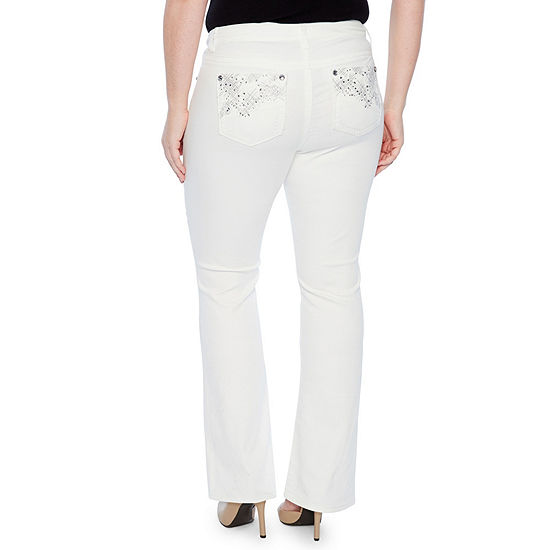 Star Stitch Faux Gemstone Pockets Bootcut Jeans - Plus