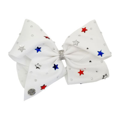 JoJo Siwa Signature White Bow With Red And Blue Stars