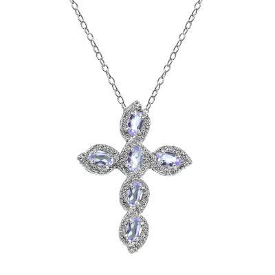 Womens Genuine Purple Amethyst Sterling Silver Cross Pendant Necklace