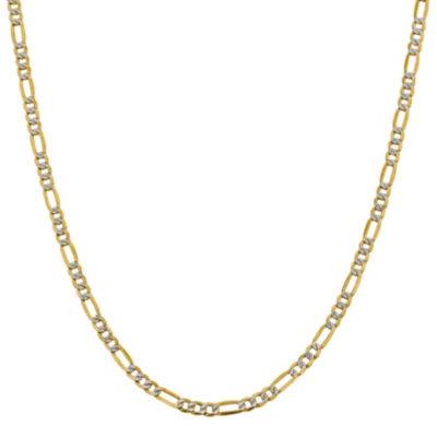 14K Gold Semisolid Figaro 18 Inch Chain Necklace