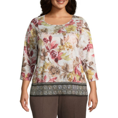 Alfred Dunner Sunset Canyon Floral Mixed Media Blouse - Plus