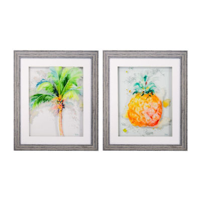 New View Palm Tree & Pineapple - 2pc Set 2-pack Canvas Art