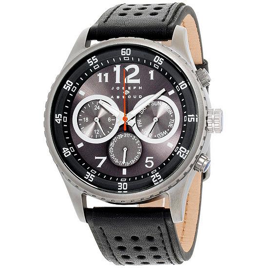 Joseph Abboud Mens Black Leather Strap Watch-Ja3203gy648-271