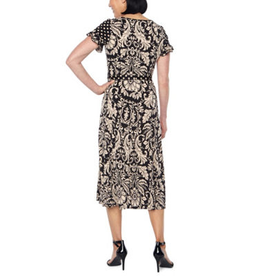 Perceptions Short Sleeve Paisley Fit & Flare Dress