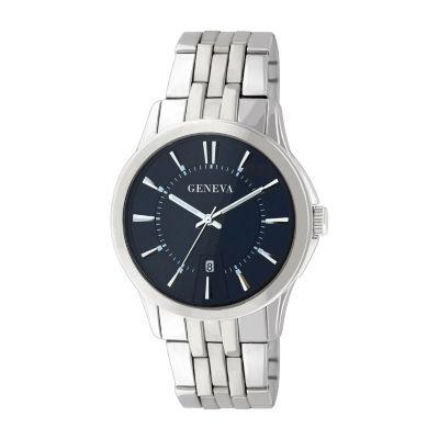 Geneva Mens Silver Tone Bracelet Watch-Jry1771sl