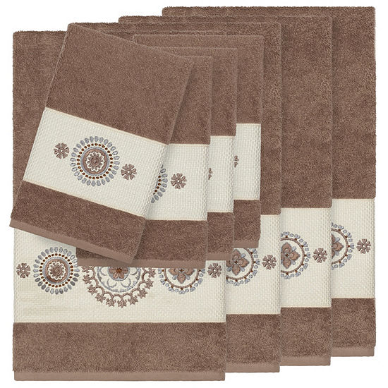 Linum Home Textiles 100% Turkish Cotton Isabelle 8PC Embellished Towel Set