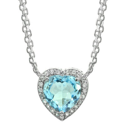 Womens Blue Topaz Sterling Silver Heart Chevron Necklaces