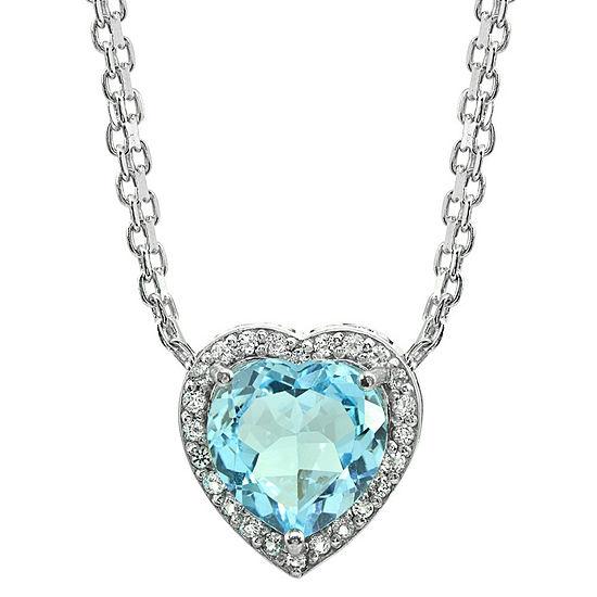 Womens Genuine Blue Topaz Sterling Silver Heart Chevron Necklaces
